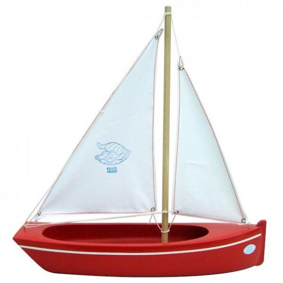 Bateau rouge en bois 32 cm, modèle Tirot 108