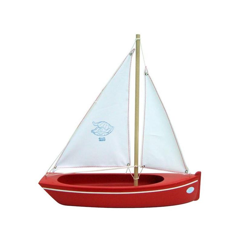 Petit Bateau En Bois - Bateau TIROT bleu ou rouge en bois 32 cm, Voilier Tirot 108 Jouets et Merveilles
