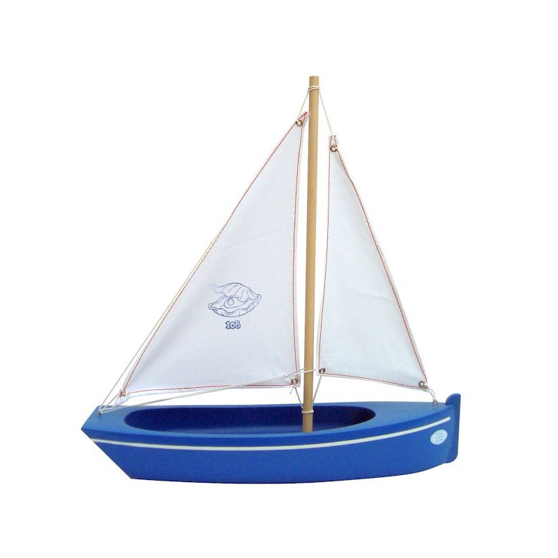 bateau tirot bleu ou rouge en bois 32 cm voilier tirot 108. Black Bedroom Furniture Sets. Home Design Ideas