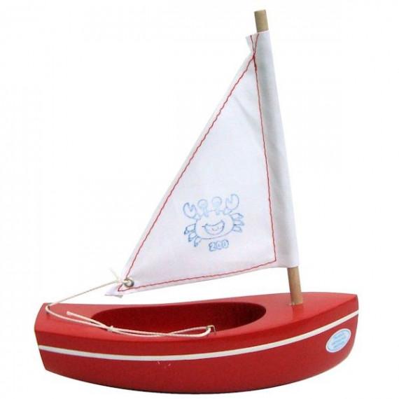 Petit voilier rouge TIROT 17 cm, modèle 200