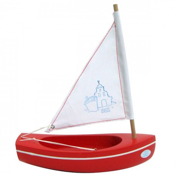 Petit voilier rouge TIROT 20 cm, modèle 201