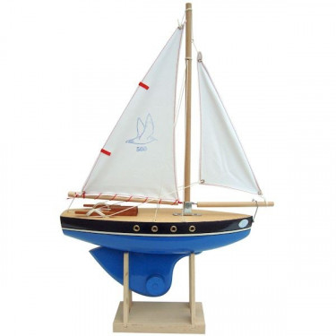 Voilier Tirot 500 coque bleue voile blanche 30 cm