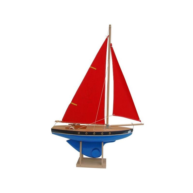voilier de bassin tirot en bois bleu ou rouge 40 cm bateau jouet tirot 502. Black Bedroom Furniture Sets. Home Design Ideas