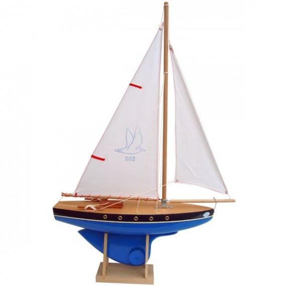 Voilier Tirot 502 coque bleue voile blanche 40cm