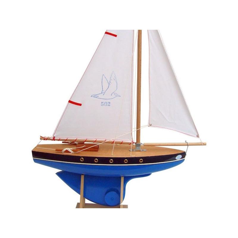 Voilier De Bassin Tirot En Bois Bleu Ou Rouge 40 Cm Bateau Jouet Tirot 502
