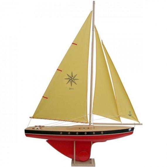 Voilier Tirot 504 coque rouge voile jaune 64cm