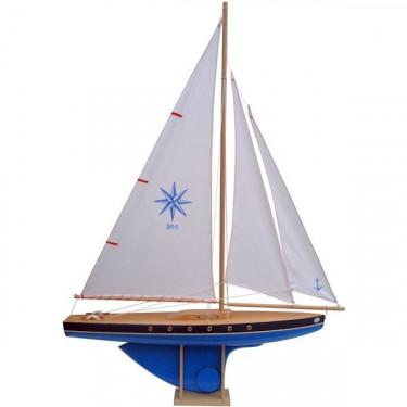 Voilier Tirot 504 coque bleue voile blanche 64cm
