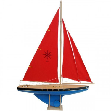 Voilier Tirot 504 coque bleue voile rouge 64cm