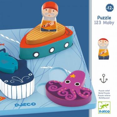 """1, 2, 3 MOBY"" Puzzle relief en bois DJECO 1046"