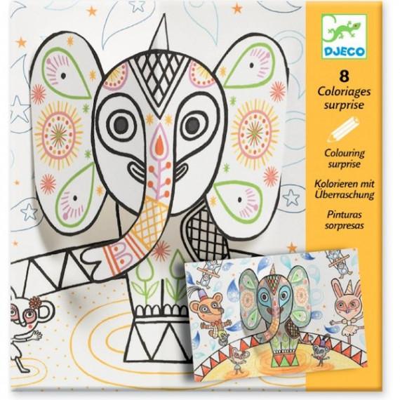 """Coloriages surprises """"Pop et l'éléphant"""" DJECO 9638"""
