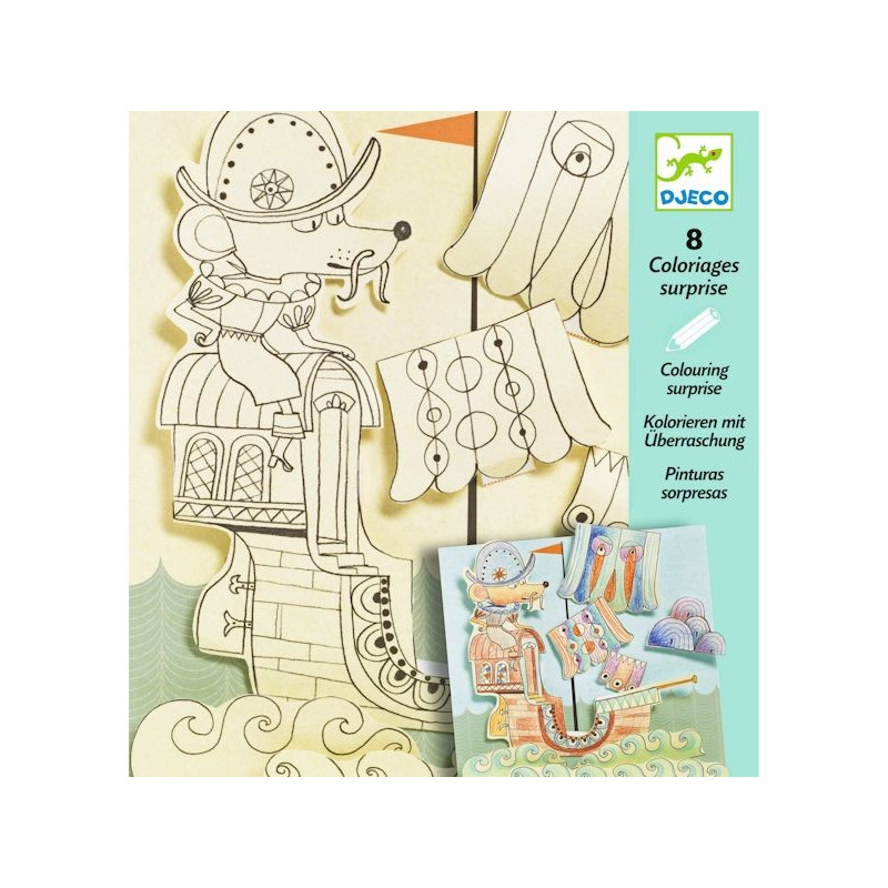Coloriages surprises explorateurs djeco 9636 - Djeco coloriage ...