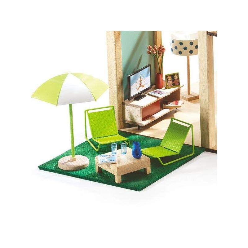 mobilier de terrasse djeco maison de poup es jouets et. Black Bedroom Furniture Sets. Home Design Ideas