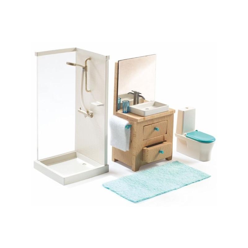 Salle de bains djeco maison de poup es jouets et for Maison miniature en bois